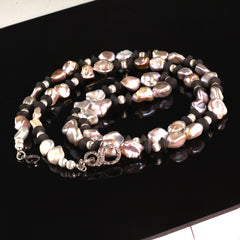 Long and lovely Silvery Pearls and Black Onyx necklace by Gemjunky