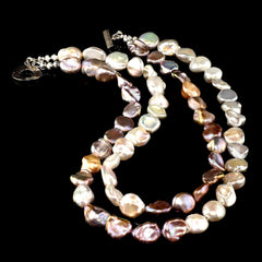Gemjunky Two strand Pearls in Silver and White Cross over Pattern Necklace