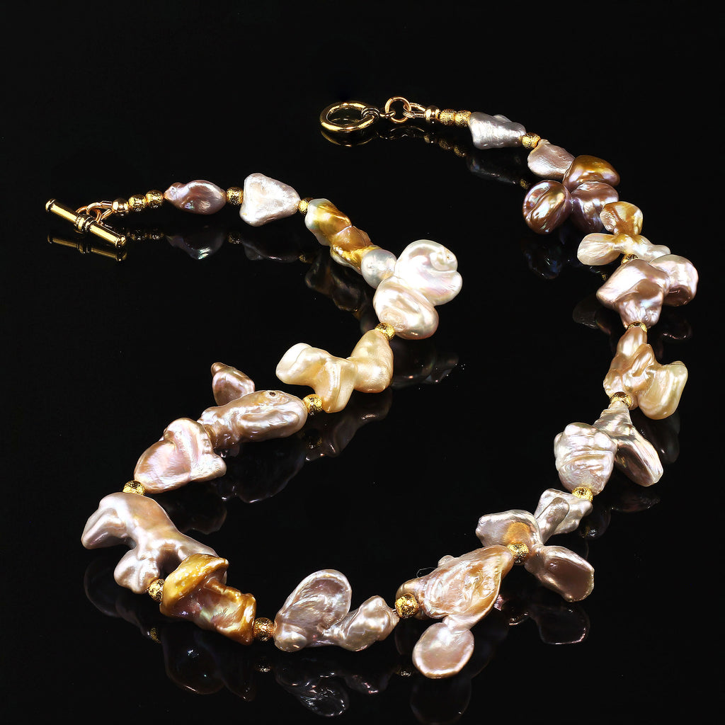 Gemjunky Choker necklace of Wild Funky Shaped Silvery Pearls with Golden Accents