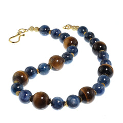 Gemjunky Distinctive Necklace of Natural Tiger's Eye and Blue Kyanite