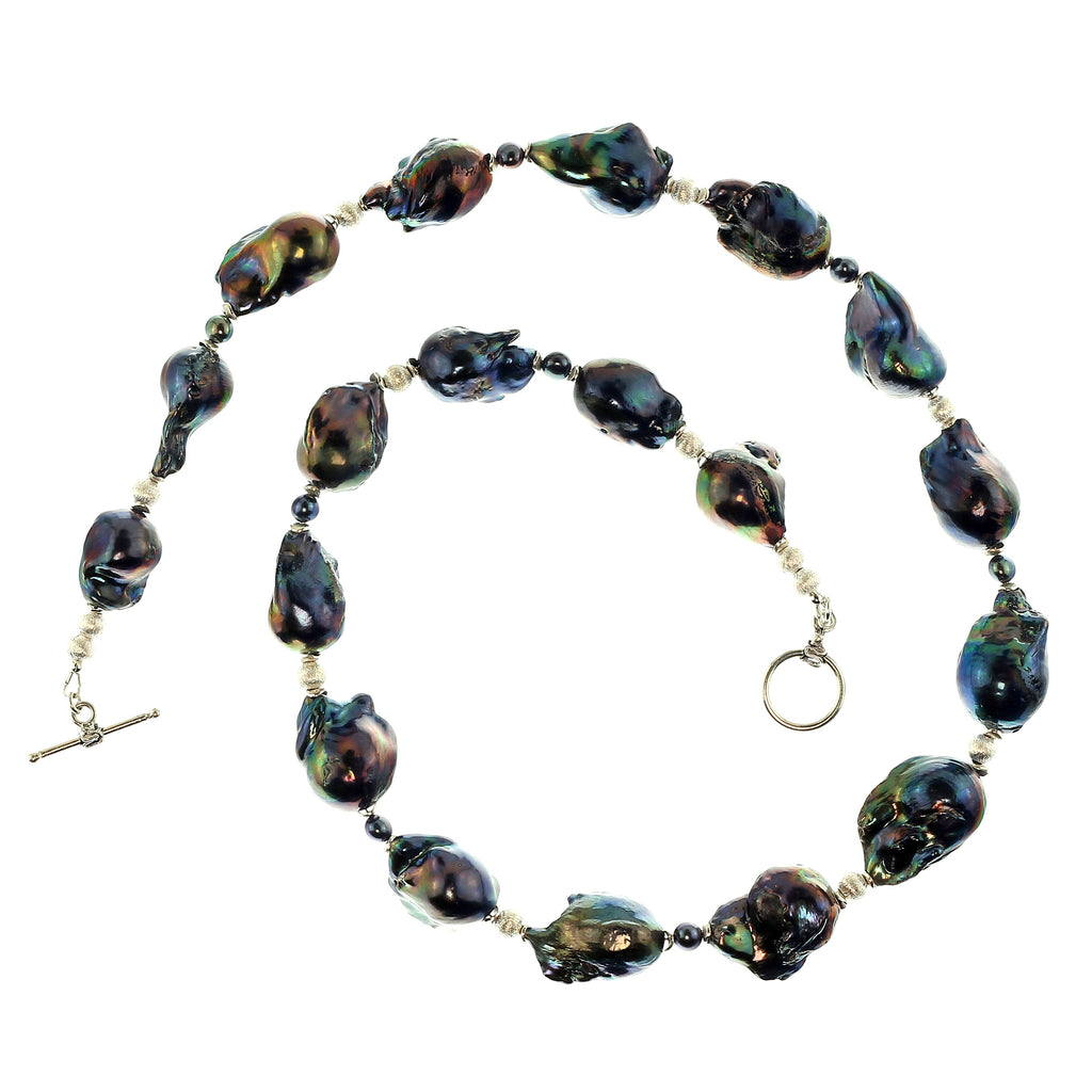 Gemjunky Peacock Iridescent Fireball Pearl Necklace
