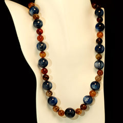 Gemjunky Magnificent 24 Inch Kyanite and Spiderweb Jasper Necklace