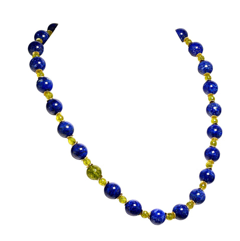 Gemjunky Elegant Blue Lapis Lazuli and Green Peridot Necklace
