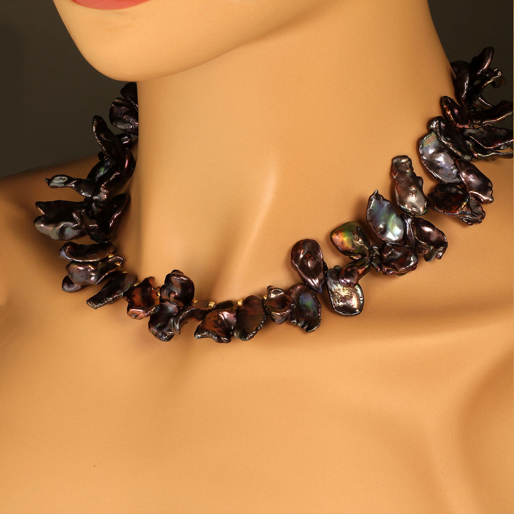 Gemjunky 18 Inch Walnut-Maroon Color Keshi Pearl necklace