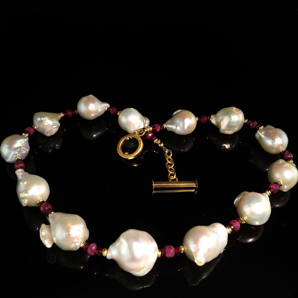 Ruby and White Pearl Choker Necklace