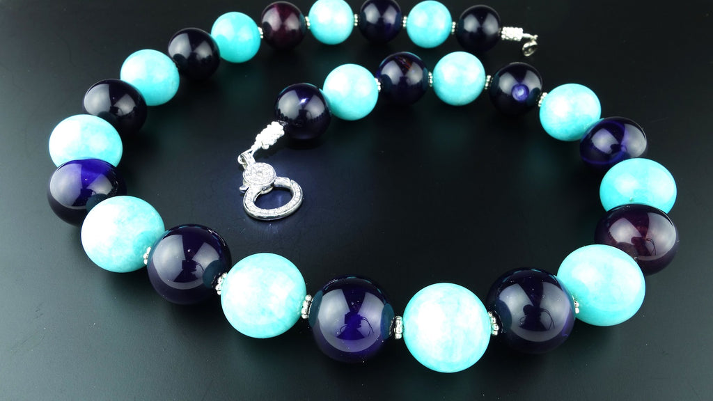 Necklace of Amazonite and Amethyst Spheres with Diamond Clasp