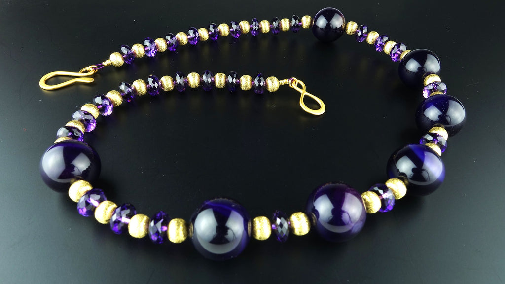 Gemjunky Purple Amethyst with Gold Accents Necklace   February Birthstone
