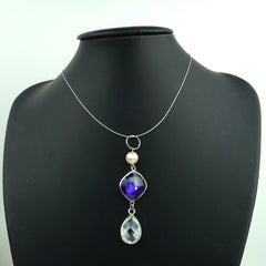 Swinging Amethyst & Pearl Drop Pendant
