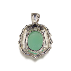 Glowing Translucent Cabochon Chrysophrase in Sterling Silver Pendant