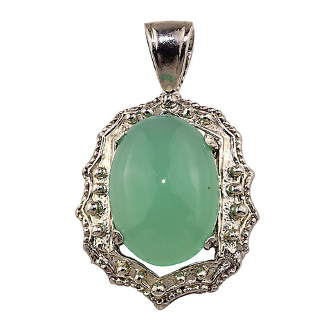 Gemjunky  Glowing Translucent Cabochon Chrysophrase in Sterling Silver Pendant