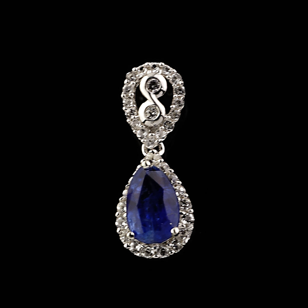 Gemjunky  Sparkling Silvery Pendant with Pear Shape Blue Kyanite