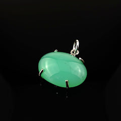Glowing Oval Translucent East-West Chrysoprase Cabochon in Sterling Silver Pendant