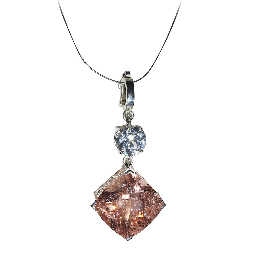 Nighttime Sparkle Morganite and White Cambodian Zircon Pendant from Gemjunky