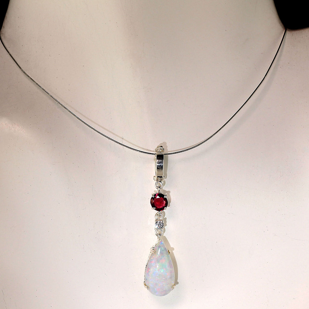 Gemjunky Sparkling Opal Pendant with accents of Garnet and Zircon
