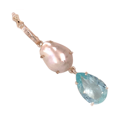 Gemjunky Springtime Gift of Aqua and Pearl Pendant