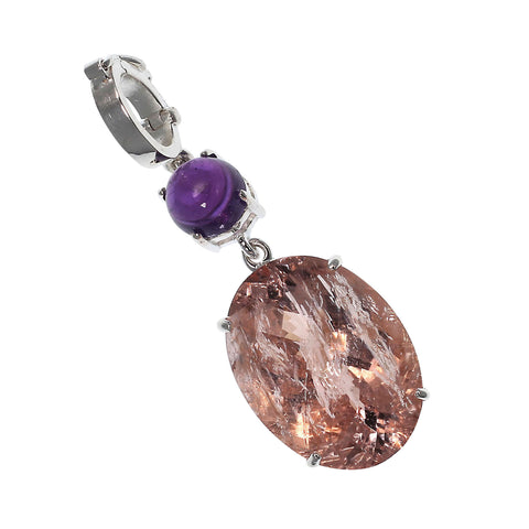 Peach and Purple Shimmering Pendant from Gemjunky