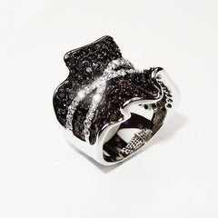 Faux Sparkly Black and White Dinner Ring