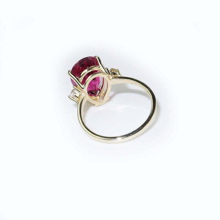 Pear Shape Rubelite and White Sapphires in Yellow Gold Ring