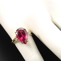 Gemjunky Pear Shape Rubelite and White Sapphires in Yellow Gold Ring