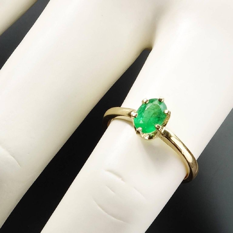 Brazilian Oval Emerald Yellow Gold Ring