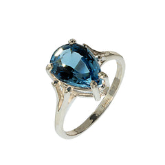 Gemjunky Pear Shape Blue Topaz in Sterling Silver Ring