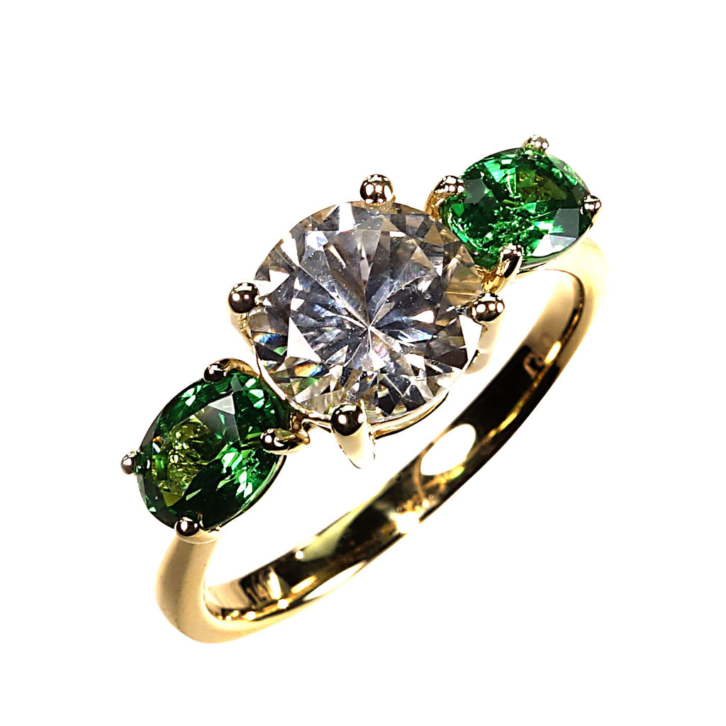 White Sapphire and Tsavorite Cocktail Ring