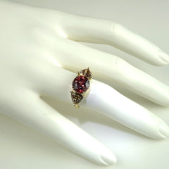 Gemjunky Red and Smoky Zircon Cocktail Ring