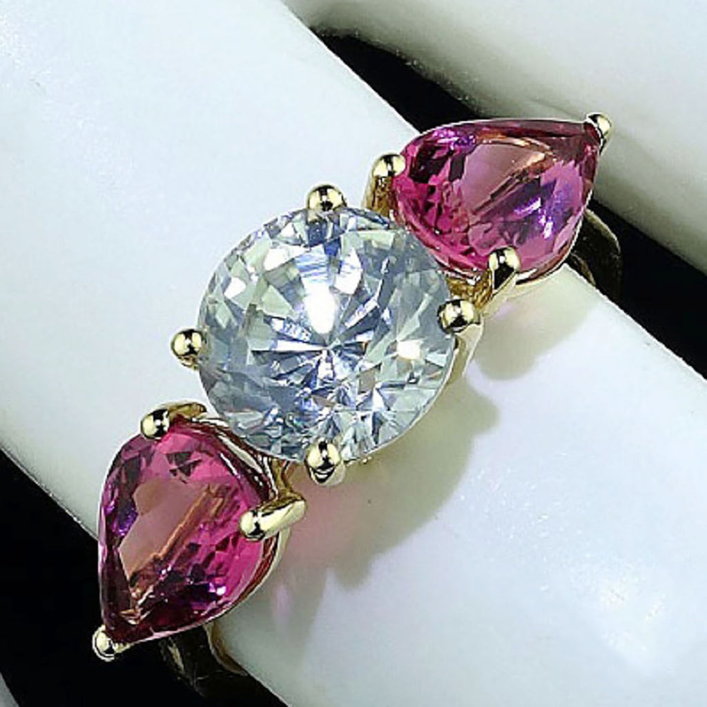 Sparkling White Zircon and  Glittering Pink Tourmaline  Cocktail Ring