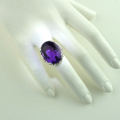 Amethyst Oval in Sterling Silver Ring