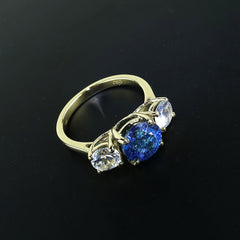 Glittering Blue Tourmaline and Sparkling  White Zircon Cocktail Ring