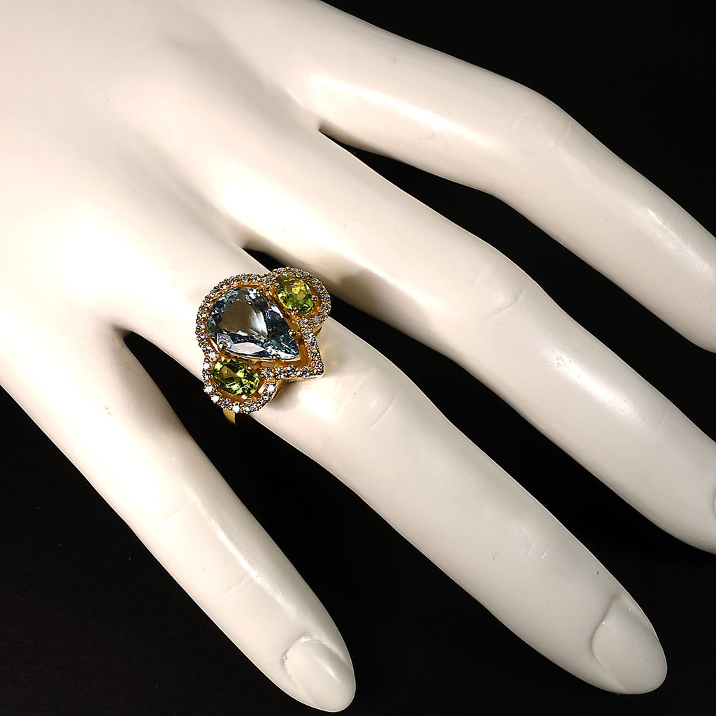 Gemjunky Glittering Dinner Ring of Aquamarine, Peridot, and Cambodian Zircon