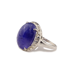 Gemjunky  Gorgeous Oval Tanzanite Cabochon in Sterling Silver Ring
