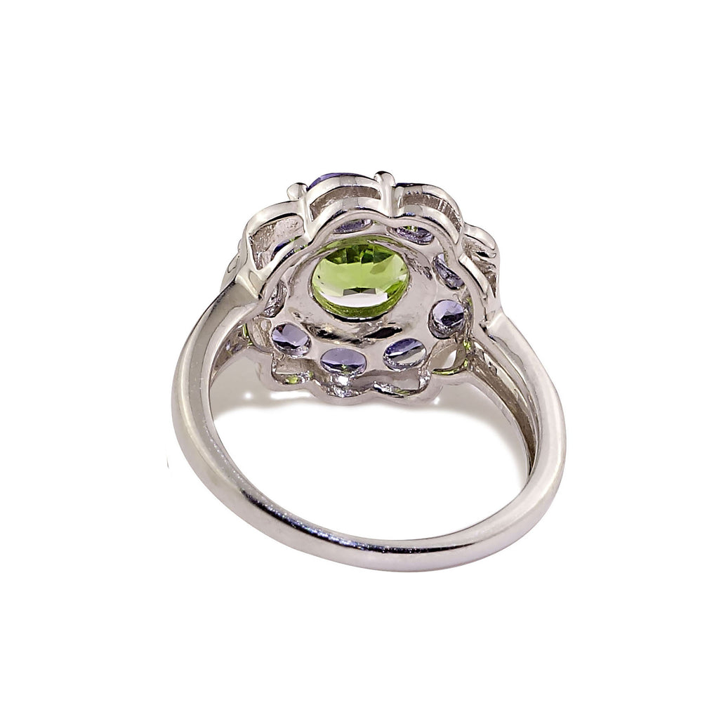Gemjunky  Sparkling Cocktail Ring of Green Peridot in Tanzanite Halo Sterling Silver