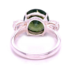 Sophisticated 'Big Deal' Green and White Zircon Cocktail Ring from Gemjunky