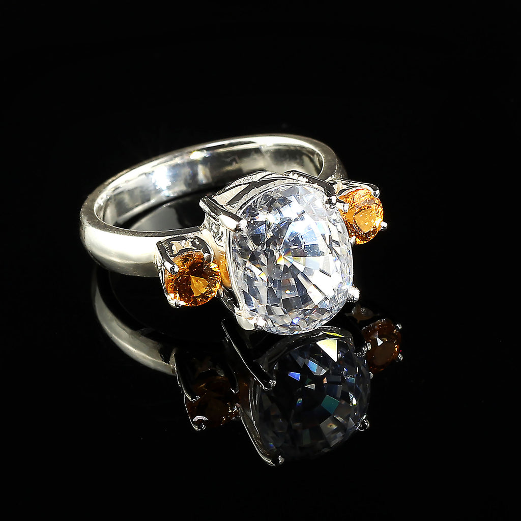 Sizzling White Cambodian Zircon and Mandarin Garnet Cocktail Ring