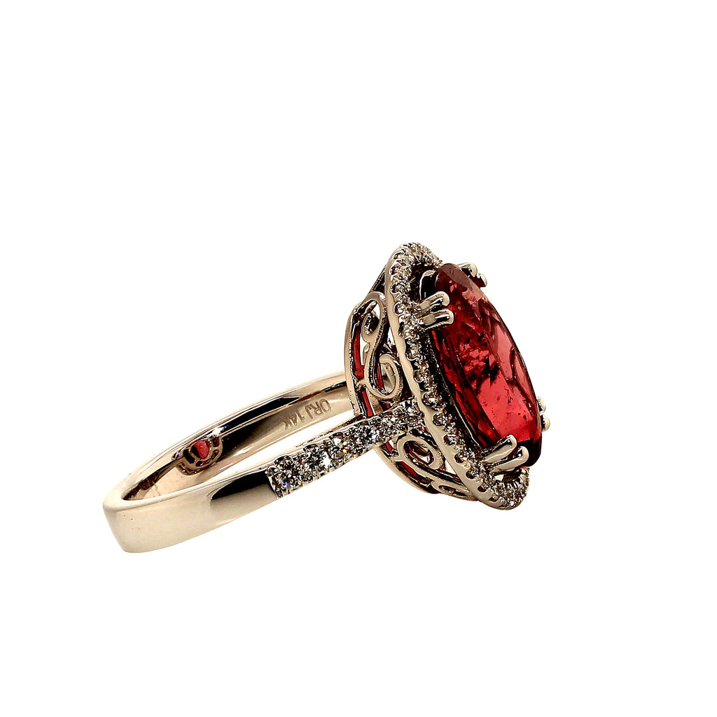 Gemjunky Oval Pink Tourmaline Halo Set in Diamonds and White Gold Ring