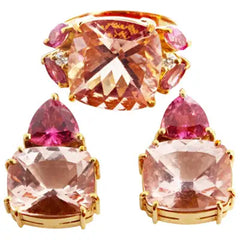 Set of Morganite and Rubelite Tourmaline 18KT Gold Ring and Stud Earrings