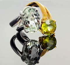 6.8 Carat Amblygonite and 2.2 Carat Sphene Gold Ring