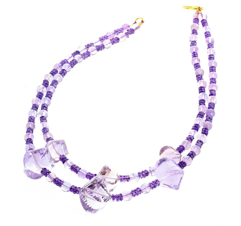 Amethyst and Rose of France Amethyst Double Strand Necklace