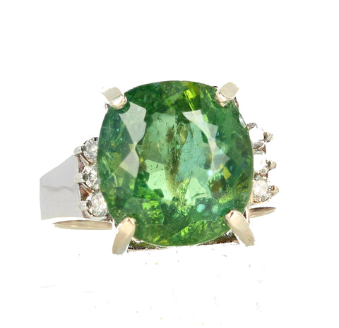 Glittering Green 8 Carat Madagascar Apatite and Diamond Ring
