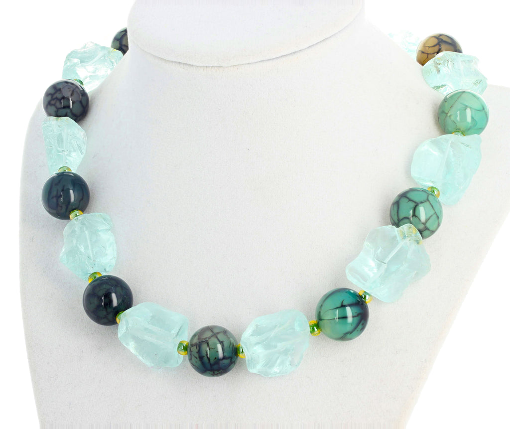 Splendid Aquamarines and BlueGreen Spiderweb Jasper Necklace