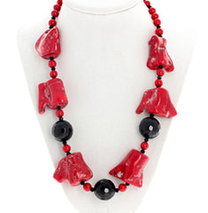 Red Bamboo Coral and Black Onyx Necklace