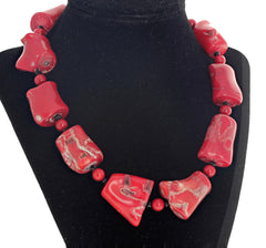 Red Bamboo Coral and Spinel Necklace