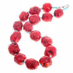 Unique Red Bamboo Coral and Turquoise Necklace