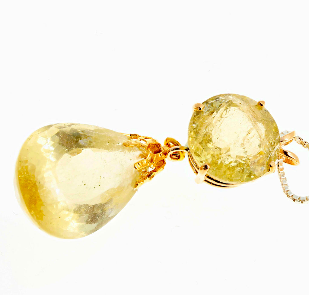 Yellow Beryl Dangling Yellow Gold Pendant