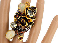 Multi-gemstone Sterling Silver and Gold Ring