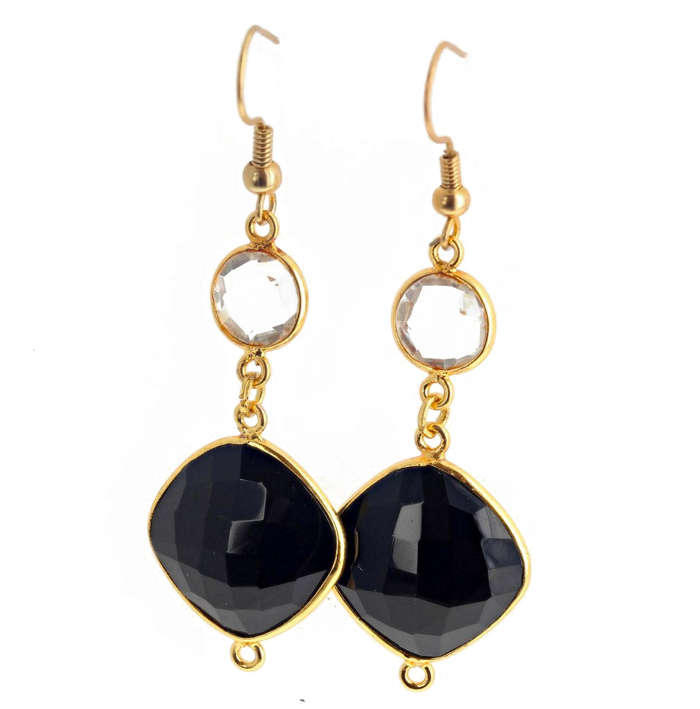 Onyx and Quartz Gold Plated Hook Earrings