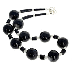 Unique Black Agate, Jet, and Moostone Necklace