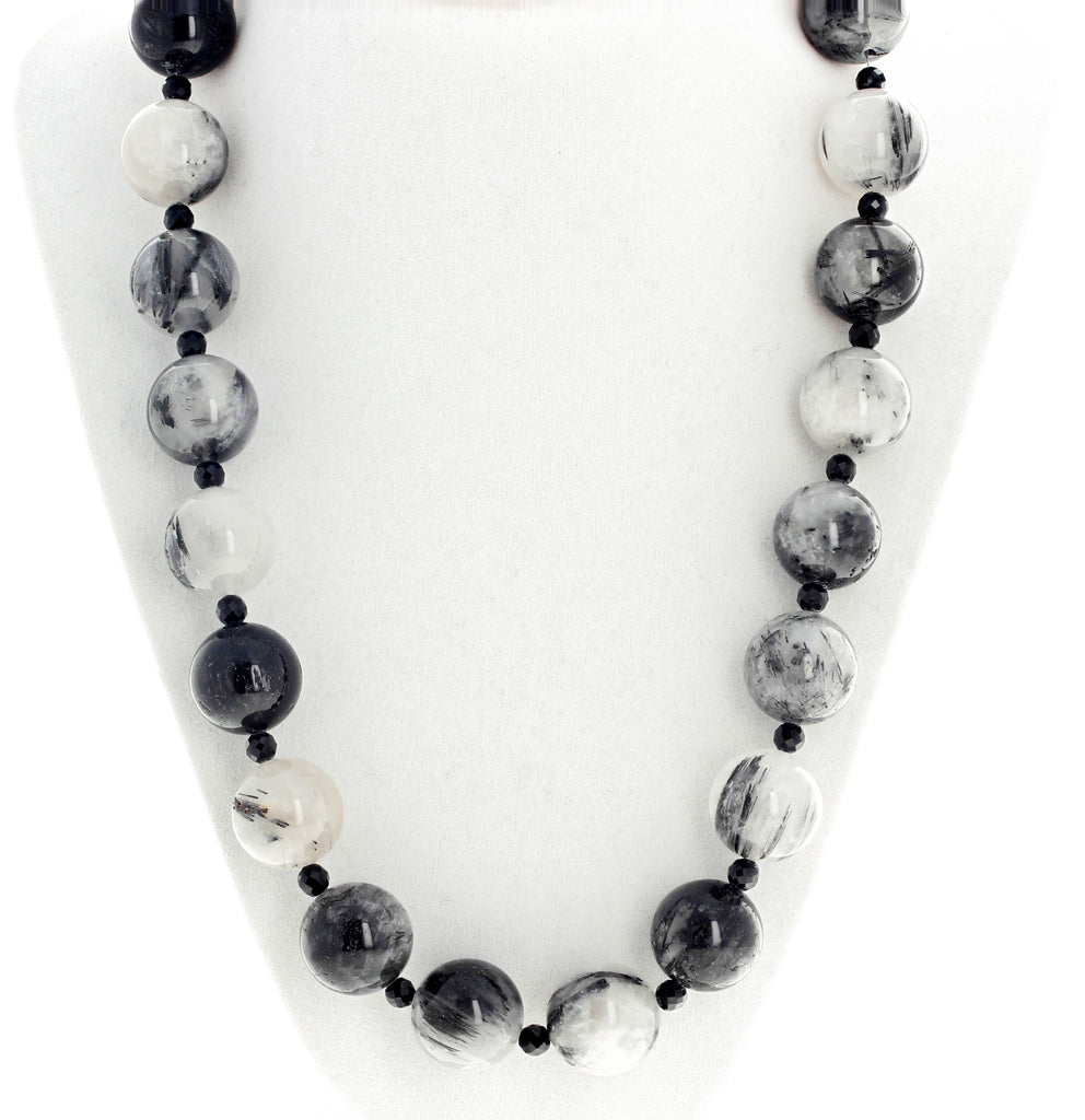 Black and White Quartz Necklace
