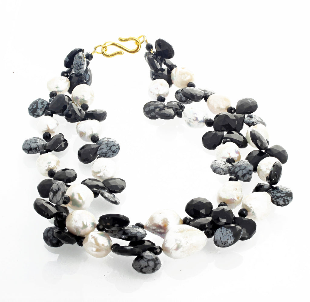 Cultured White Pearls and Snowflake Obsidian Necklace